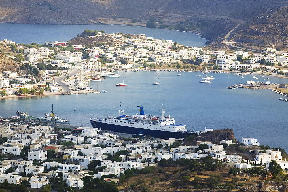 High angle view of a cityscape, Skala, Patmos, Dodecanese Islands, Greece