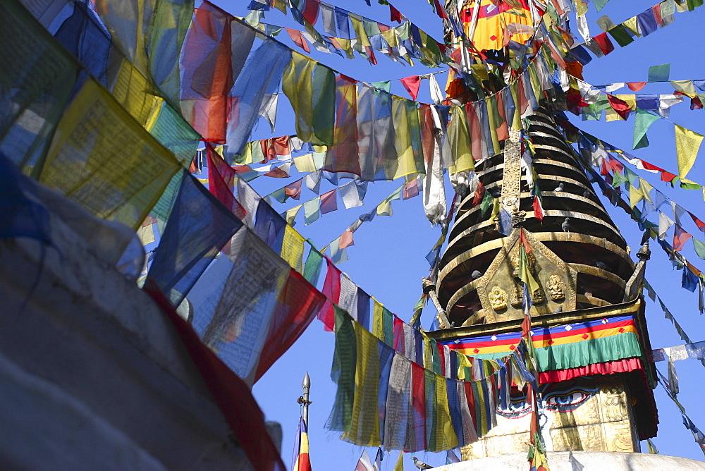 Low angle view of a temple, Swayambhunath, Kathmandu, Nepal
