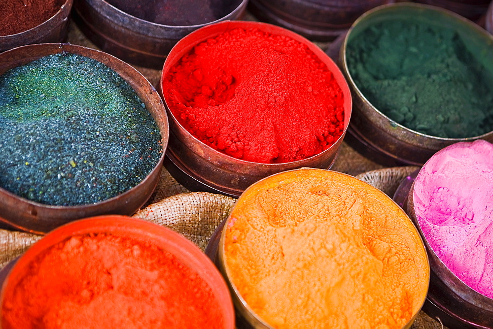 Close-up of various powder paints at a market stall, Pisaq, Cuzco, Peru - 788-14583