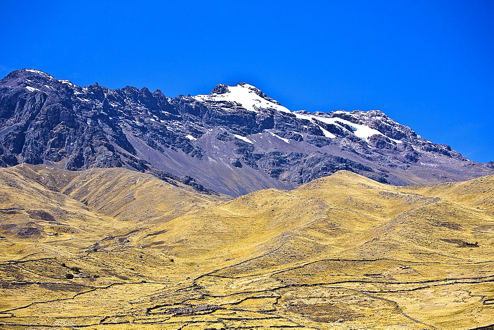 Low angle view of a snowcovered mountain, Santa Rosa, Puno, Peru