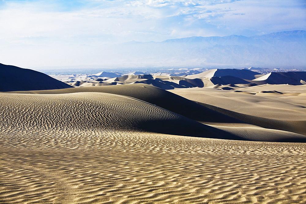 Sand dunes on a landscape, Huacachina, Ica, Ica Region, Peru