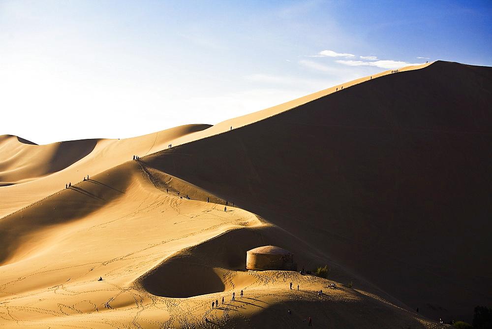 Sand dunes in a desert, Huacachina, Ica, Ica Region, Peru