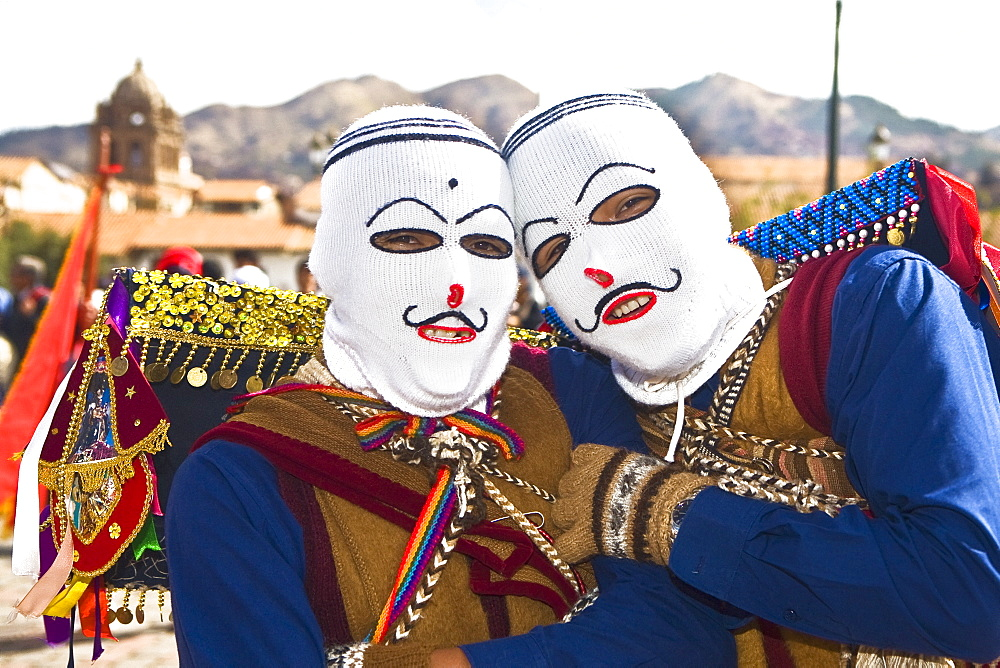 Portrait of two people wearing traditional costumes, Cuzco, Peru