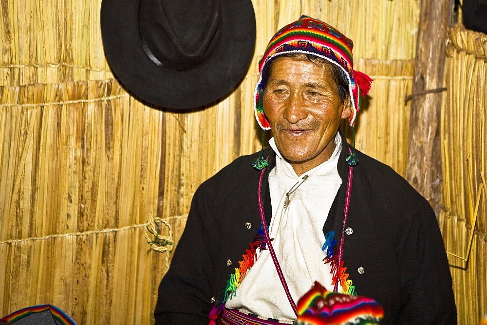 Close-up of a senior man smiling, Taquile Island, Lake Titicaca, Puno, Peru