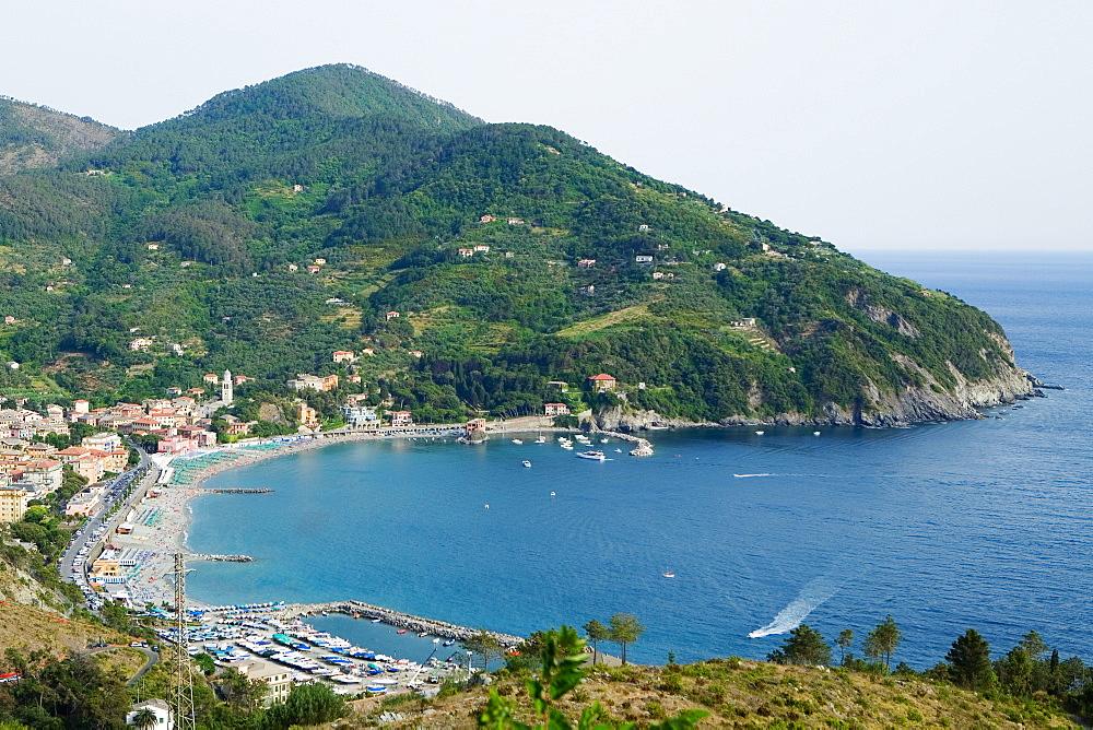 High angle view of a coastline, Levanto, La Spezia, Liguria, Italy