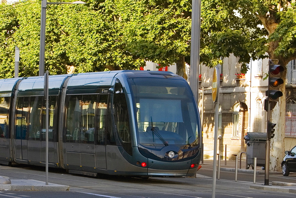Cable car on tracks, Vieux Bordeaux, Bordeaux, France