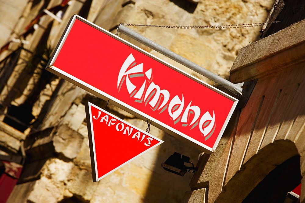 Low angle view of signboards in a street, Vieux Bordeaux, Bordeaux, France