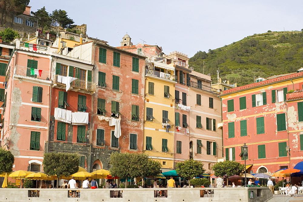 Buildings in a town, Piazza Marconi, Italian Riviera, Cinque Terre National Park, Vernazza, La Spezia, Liguria, Italy