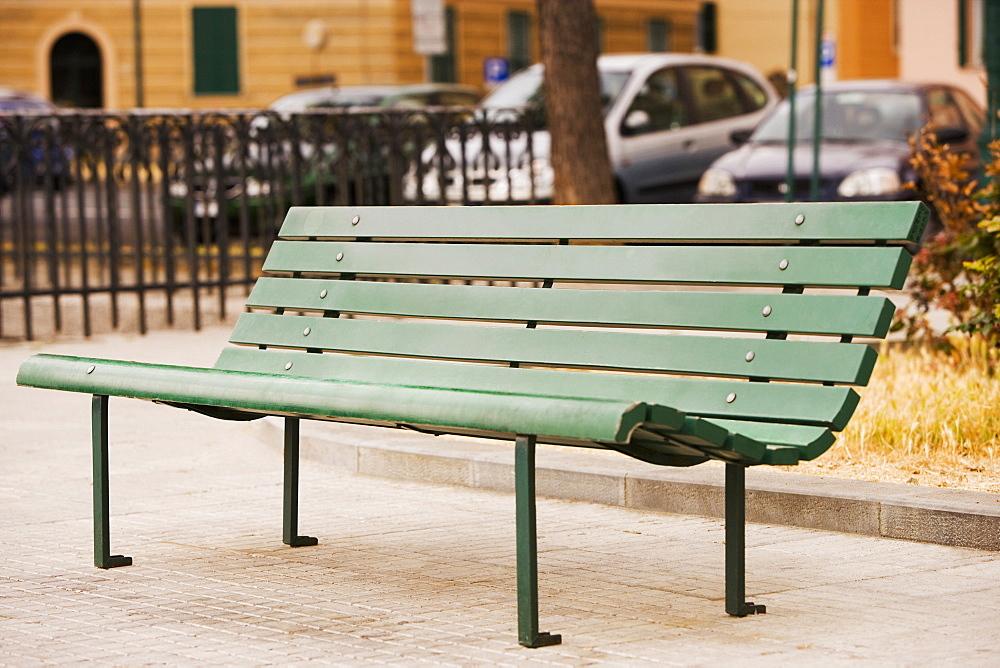 Close-up of a bench, Genoa, Liguria, Italy