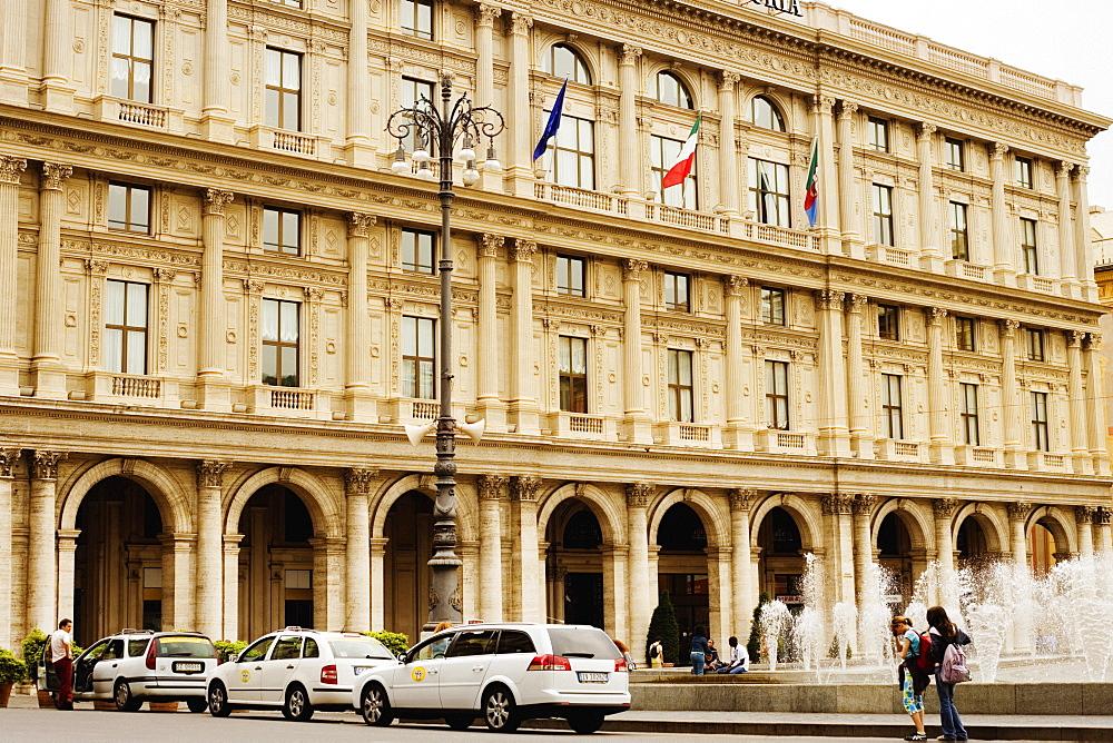 Fountain in front of a building, Piazza De Ferrari, Genoa, Liguria, Italy