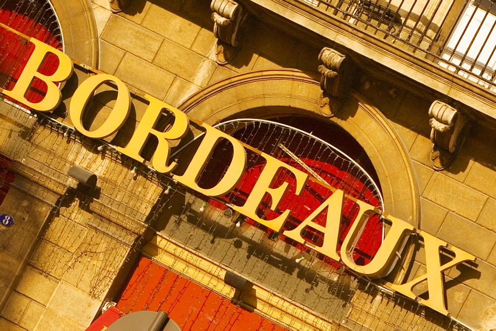 City sign on a building, Bordeaux, Aquitaine, France