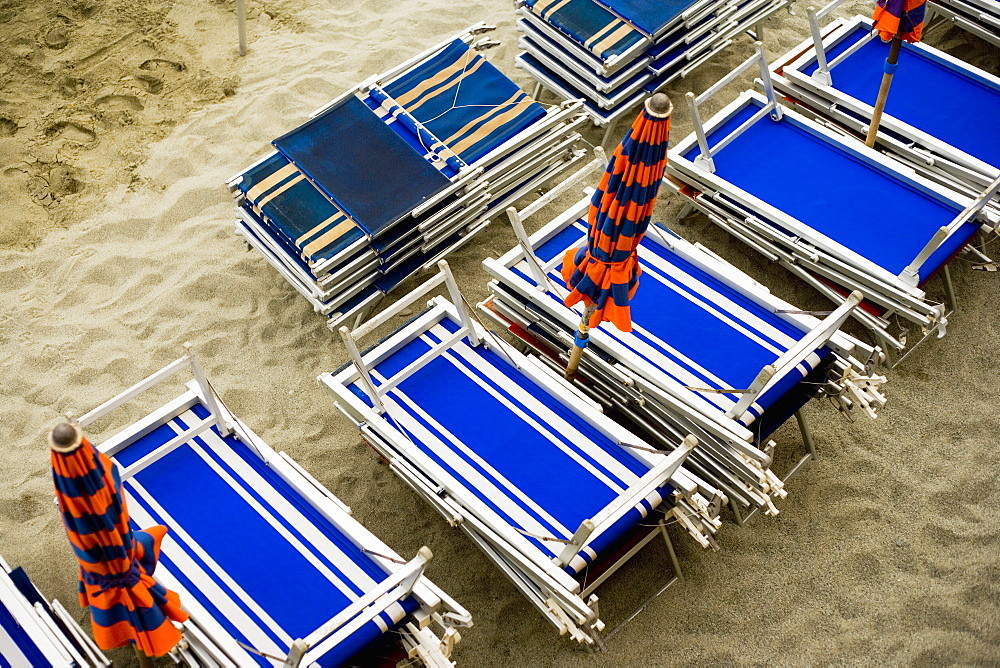 High angle view of folded lounge chairs, Italian Riviera, Cinque Terre, La Spezia, Liguria, Italy