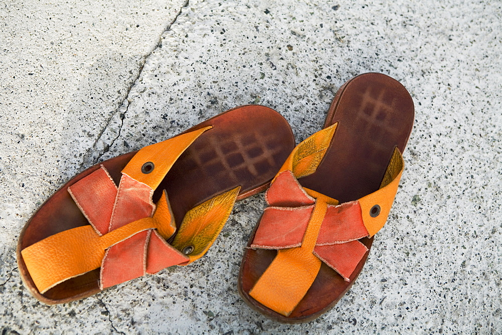 Close-up of a pair of sandals, Italian Riviera, Genoa, Liguria, Italy