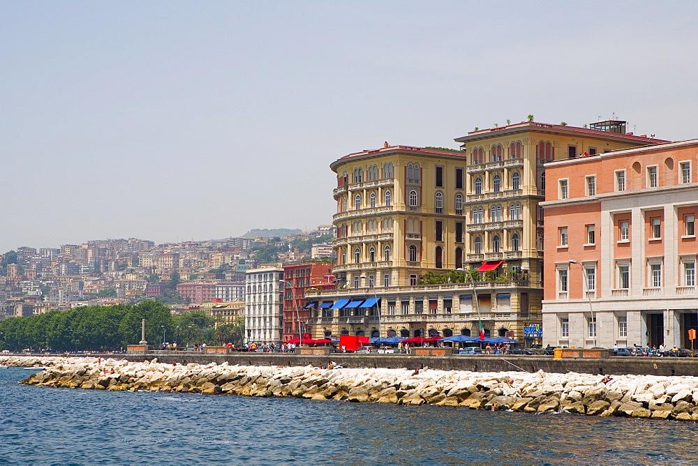 Buildings in a city, Via Partenope, Bay of Naples, Naples, Naples Province, Campania, Italy