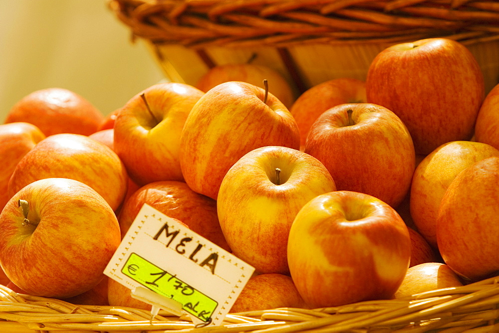 Apples at a market stall, Genoa, Liguria, Italy