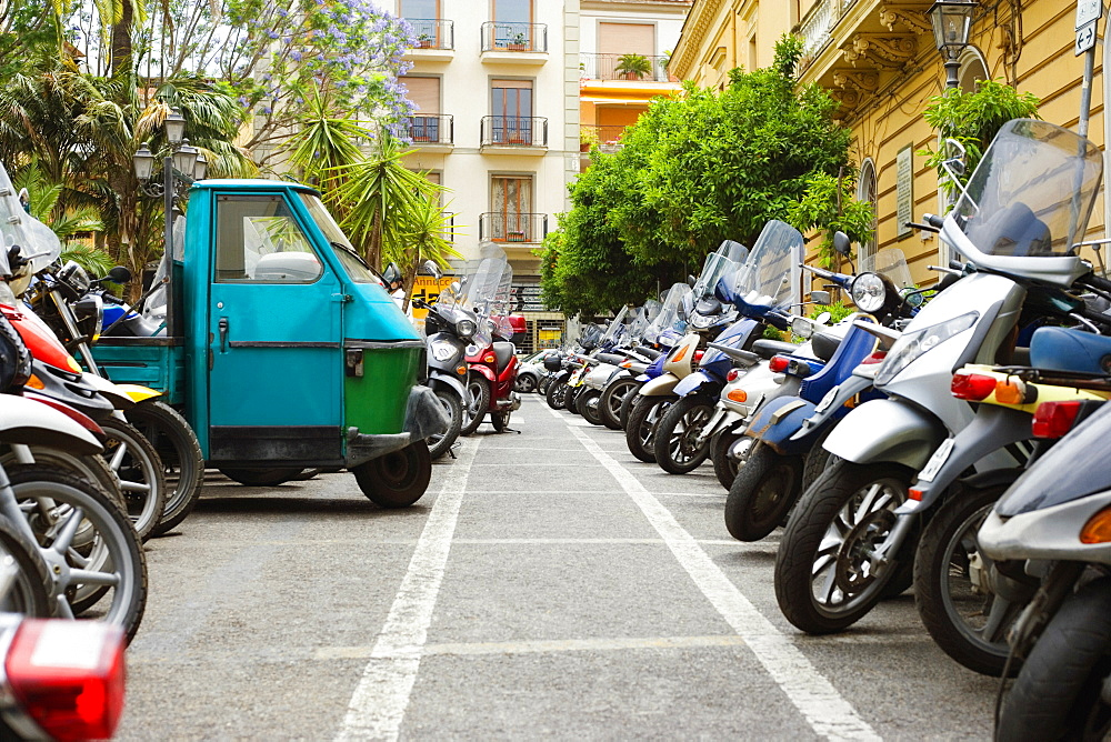 Vehicles parked at a parking lot, Sorrento, Naples Province, Campania, Italy