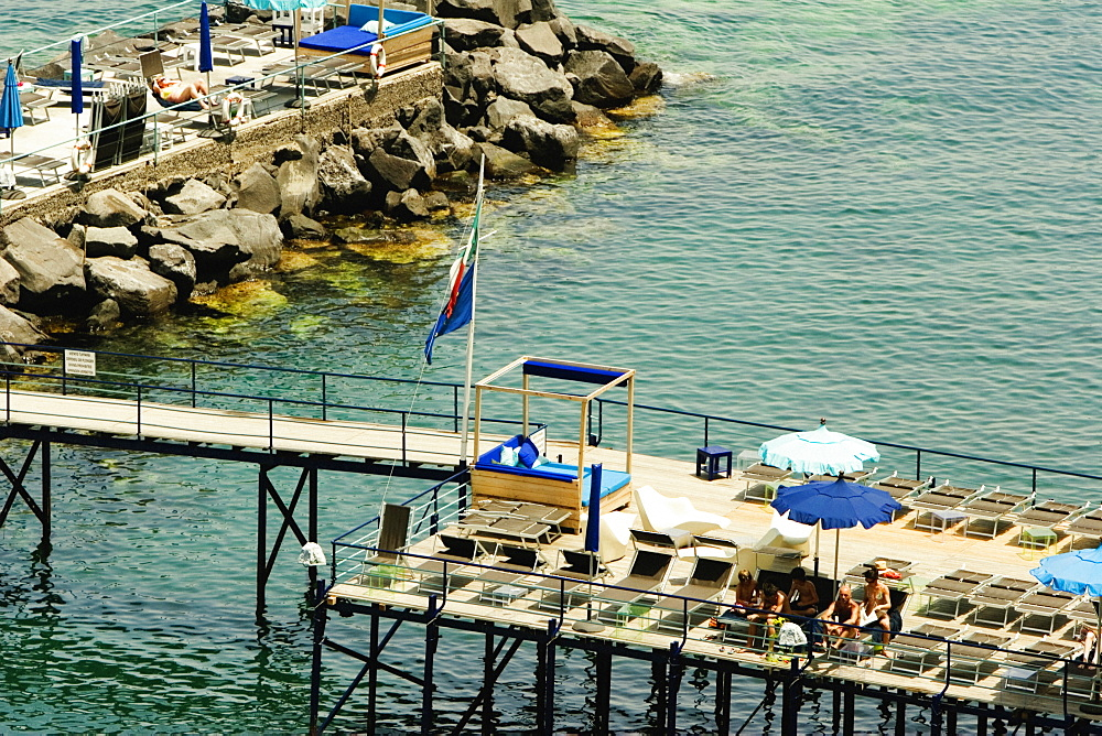 High angle view of a group of people at a pier, Marina Grande, Capri, Sorrento, Naples Province, Campania, Italy