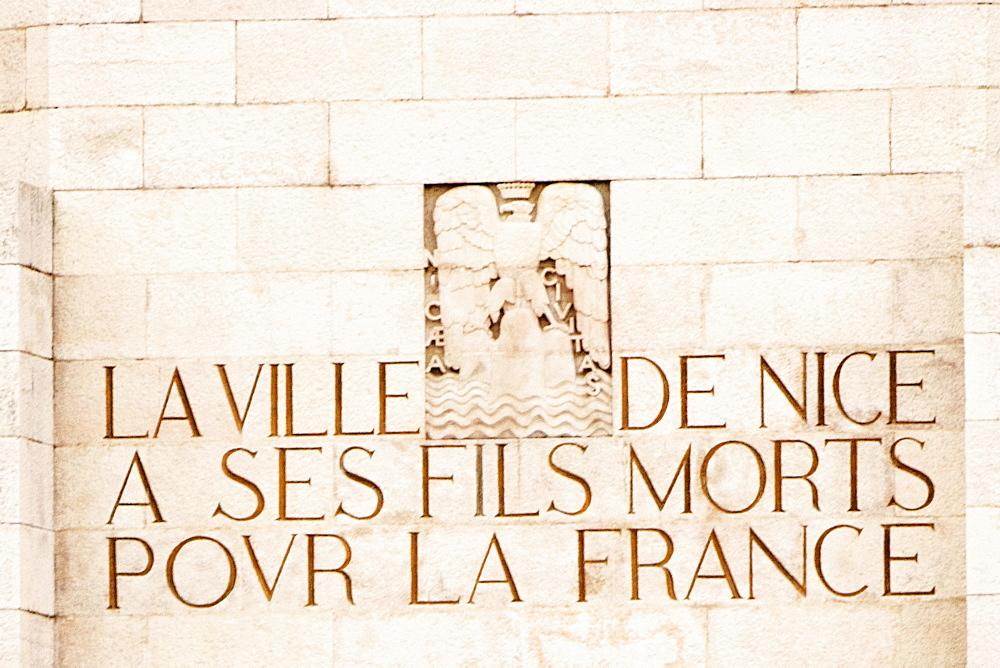 Text carved on a wall, Monument Aux Morts, Cote d'Azur, Cannes, Provence-Alpes-Cote D'Azur, France