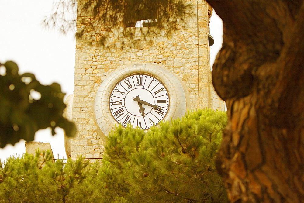 Low angle view of a clock tower, Musee De La Castre, Cote d'Azur, Cannes, Provence-Alpes-Cote D'Azur, France
