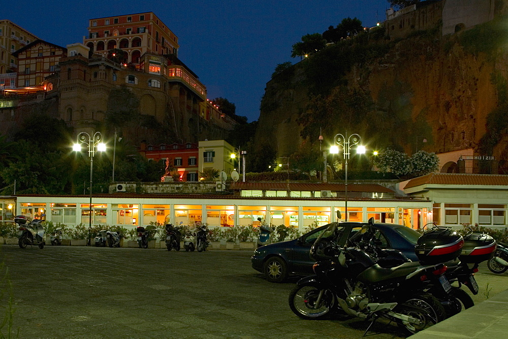 Parking lot in front of a building, Piazza Marinai d'Italia, Sorrento, Sorrentine Peninsula, Naples Province, Campania, Italy