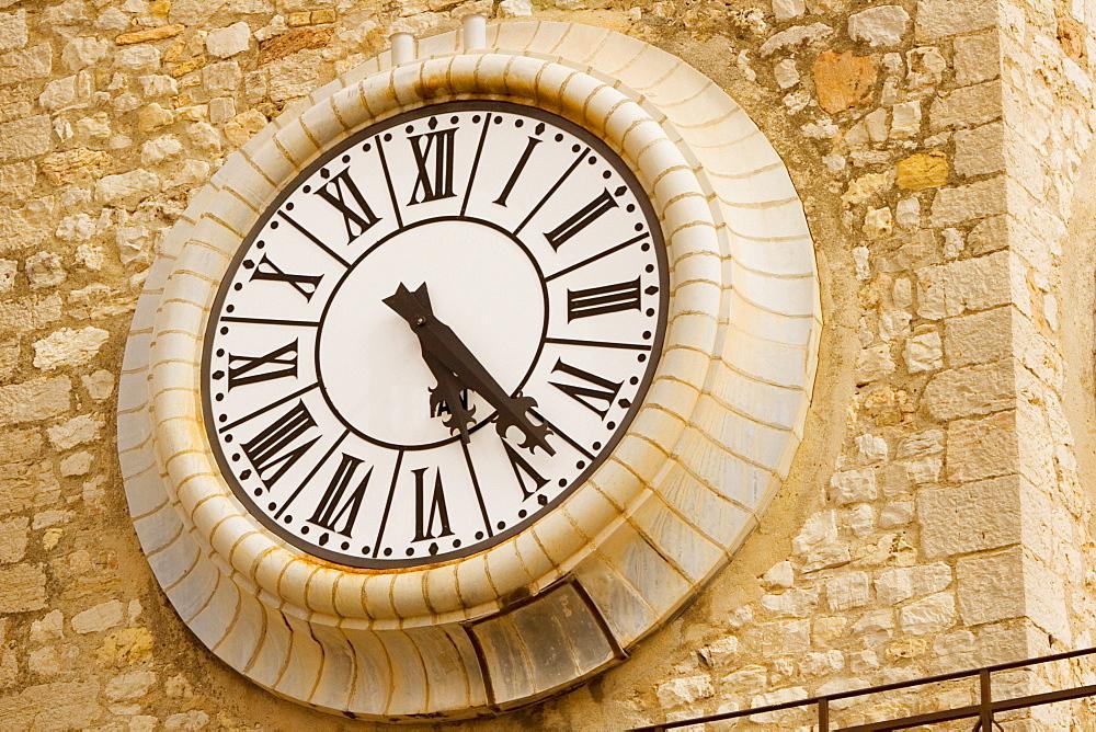 Close-up of a clock on a clock tower, Musee De La Castre, Cote d'Azur, Cannes, Provence-Alpes-Cote D'Azur, France