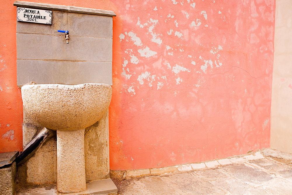 Drinking fountain on a wall, Cinque Terre, Manarola, La Spezia, Liguria, Italy