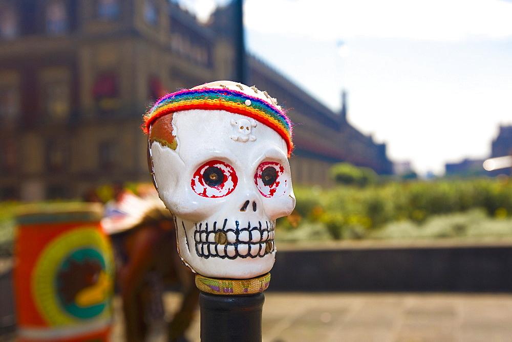 Close-up of a skull mask, Zocalo, Mexico City, Mexico