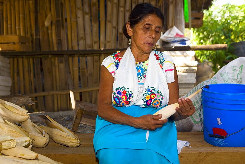 Mature woman peeling corn, Papantla, Veracruz, Mexico