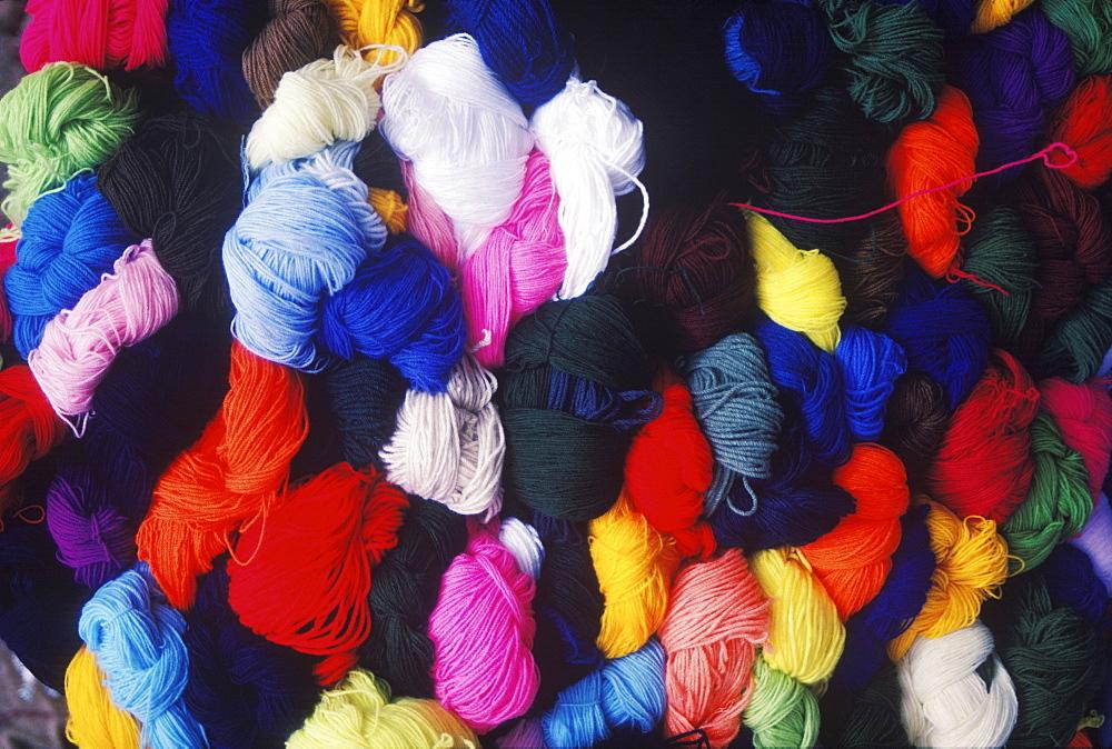 Close-up of bundles of wool
