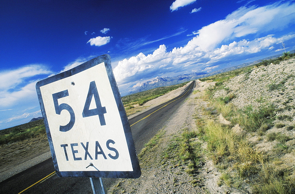 Close-up of a distance sign on the roadside, Texas, USA - 788-2039