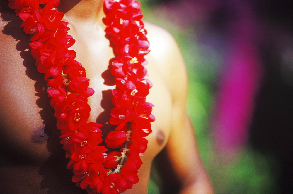 Mid section view of a young man wearing a garland, Hawaii, USA
