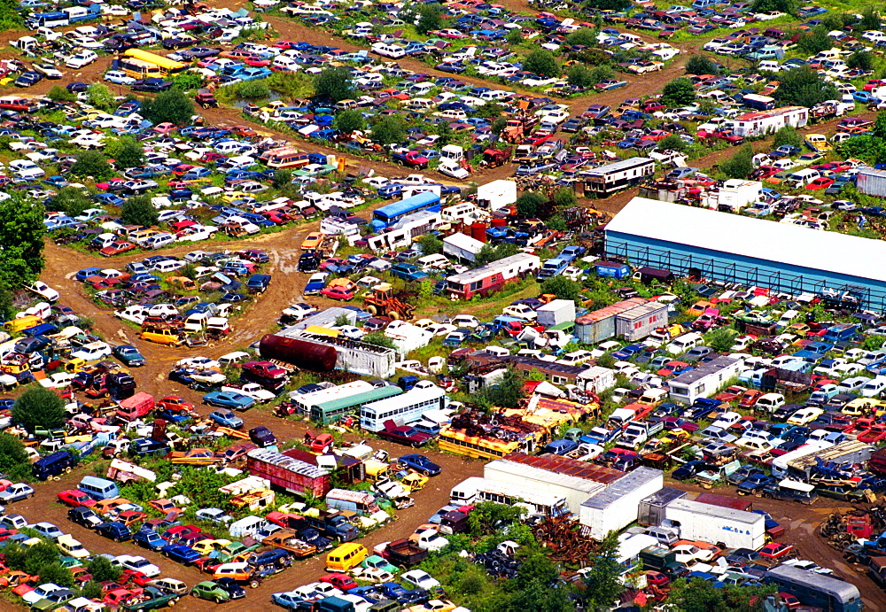 Aerial view of junk cars near Upper Black Eddy, PA