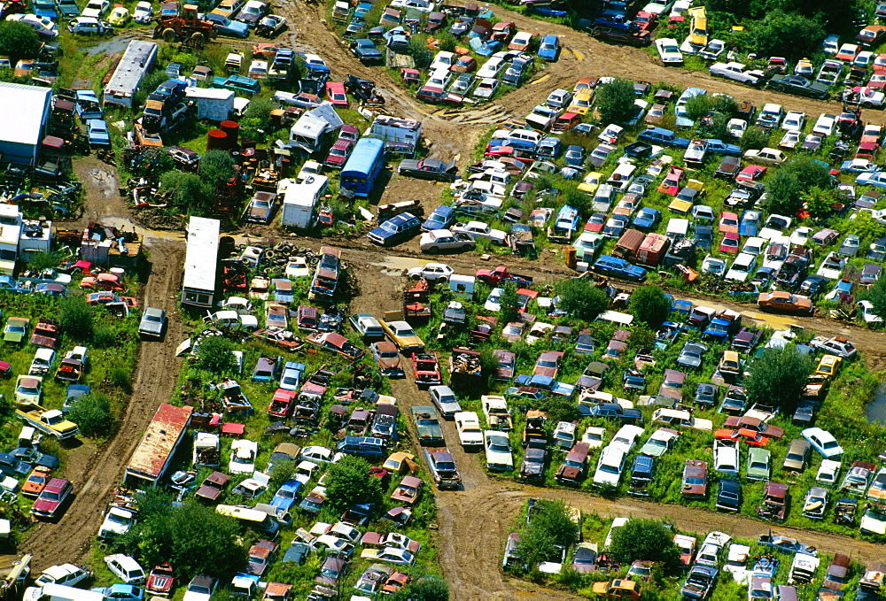Aerial view of junk cars near Upper Black Eddy, Pa - 788-219