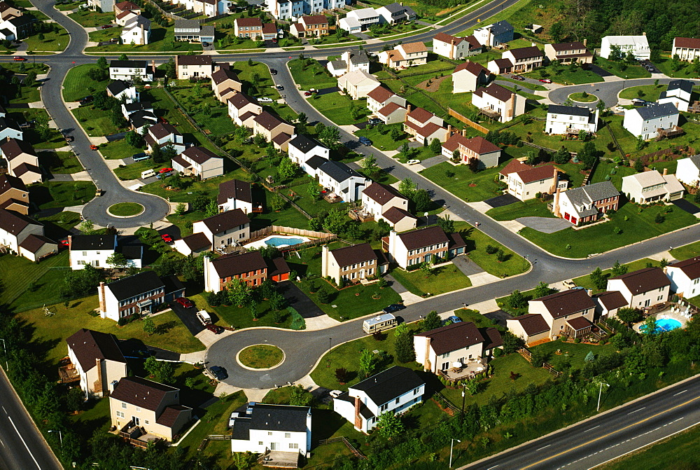 Aerial view of suburban housing in Maryland