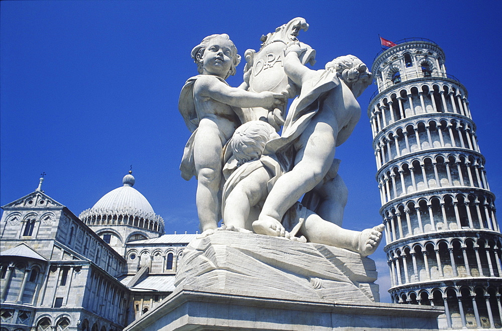 Statue in front of a tower, Leaning Tower of Pisa, Pisa, Italy