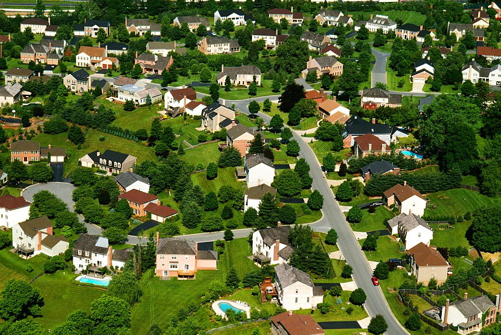 Aerial view of housing subdivision, suburban Washington, DC
