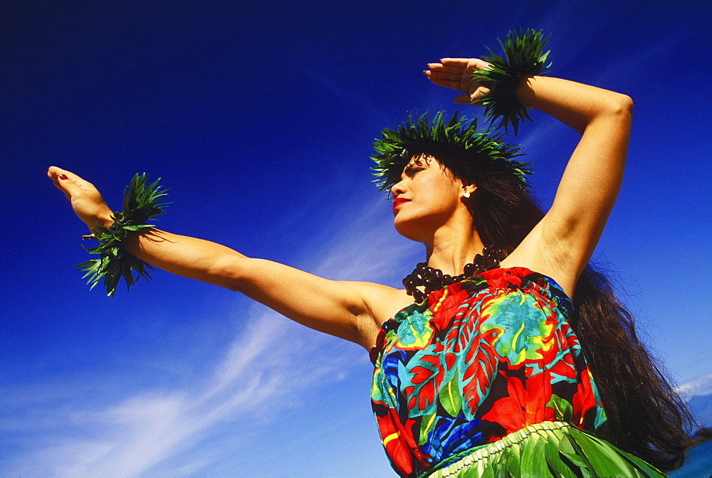 Low angle view of a hula dancer dancing, Hawaii, USA