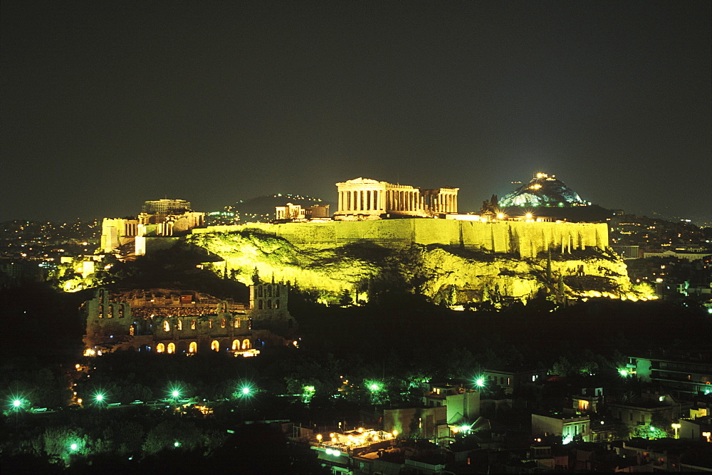 High angle view of buildings in a city lit up at night, Parthenon, Athens, Greece