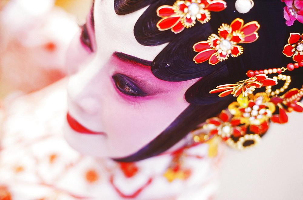 Close-up of a female opera performer, Hong Kong, China