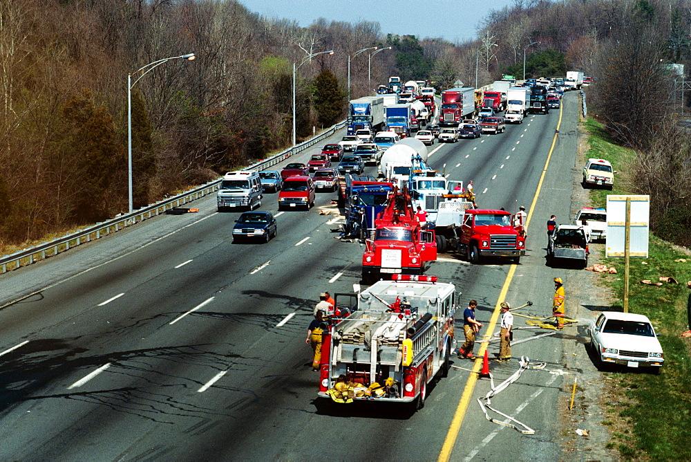 Traffic accident on 495 Beltway, Bethesda, Maryland