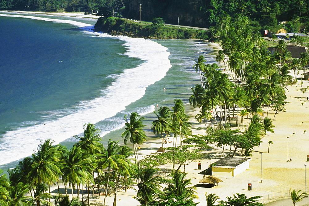 Scenic view of Maracas Beach on a sunny day, Trinidad, Caribbean