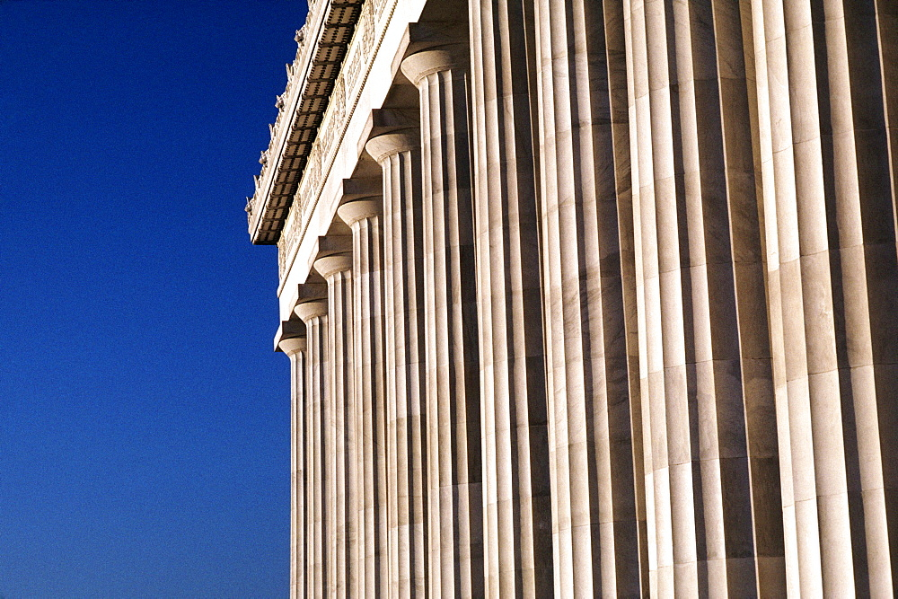 Low angle view of columns of a building, Lincoln Memorial, Washington DC, USA