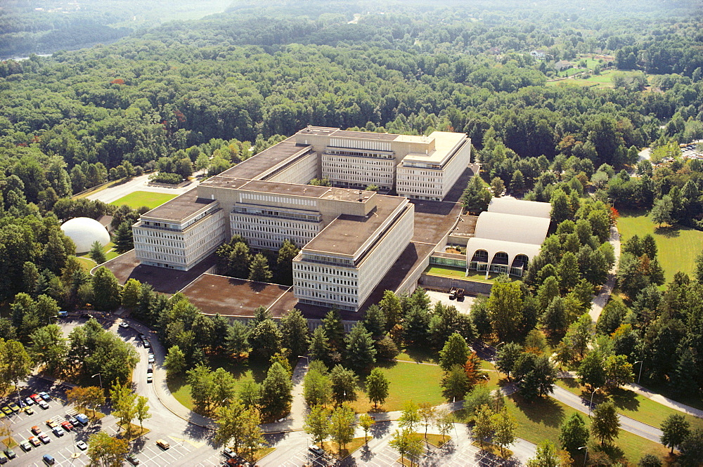 Aerial view of a government building in a city, CIA headquarters, Virginia, USA