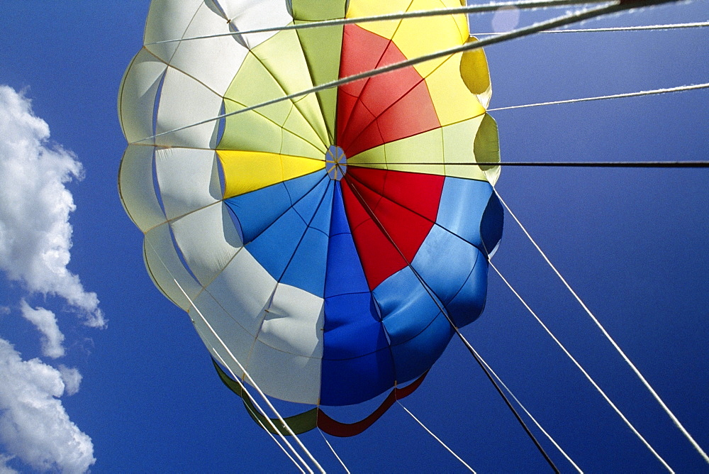 View of the canopy of a parasail, Negril Beach, Jamaica