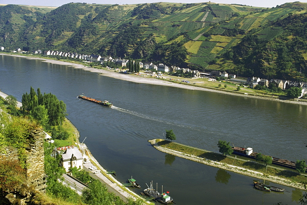 High angle view of a tourboat, Rhine River, Germany