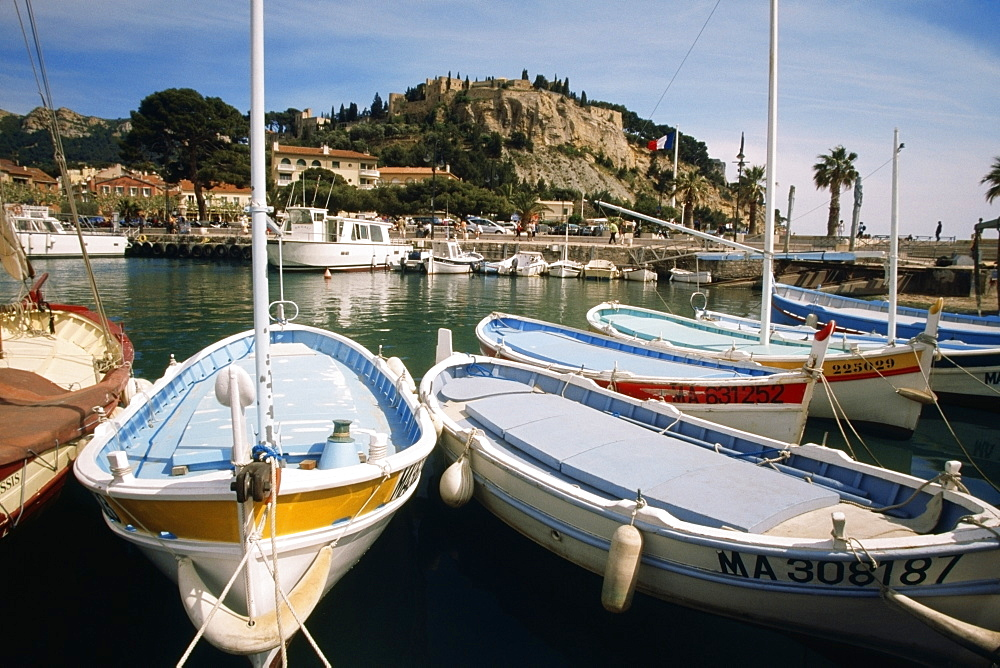 Close up of docked boats at Habor Cassis, Provence, France