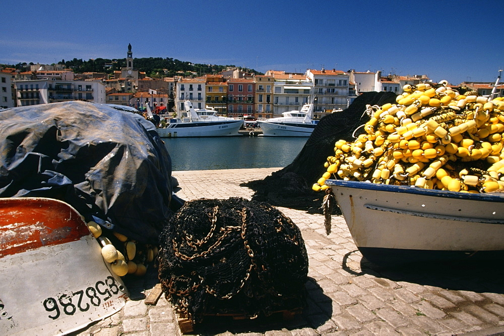 Close up of a fishing gear on a wharf, Sete, France