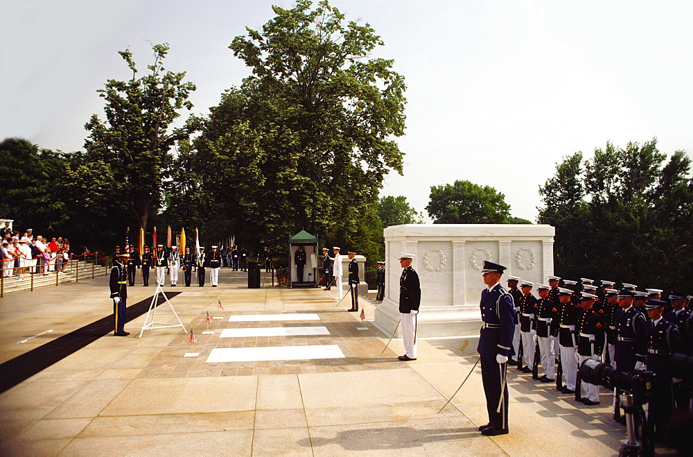 Group of military people at a cemetery, Arlington National Cemetery, Arlington, Virginia, USA