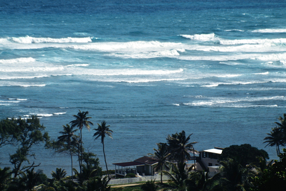 High angle view of waves on the East Coast of Barbados in the Caribbean