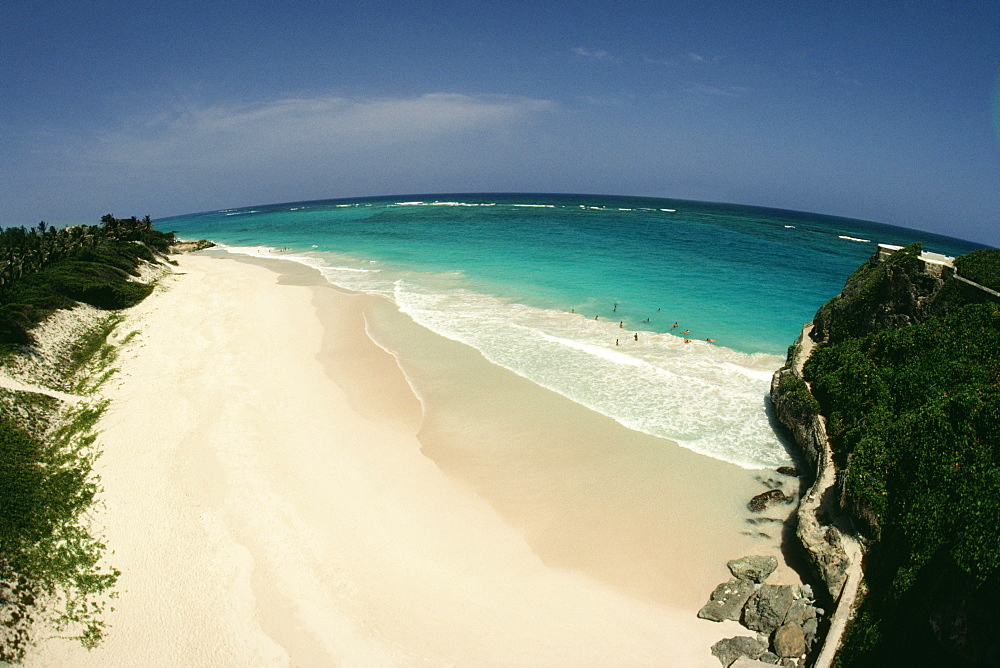 High angle view of Crane Beach on the island of Barbados in the Caribbean